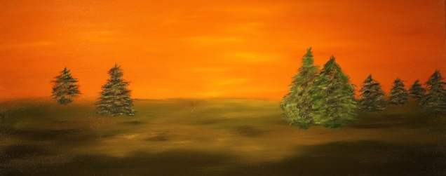 Mystic Pines, 16x40, Oil on Canvas